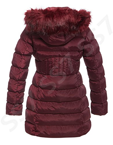 Padded Women's 16 Faux Hood Parka Fur To 8 SS7 Sizes Coat Berry Winter x6aqIFdqw