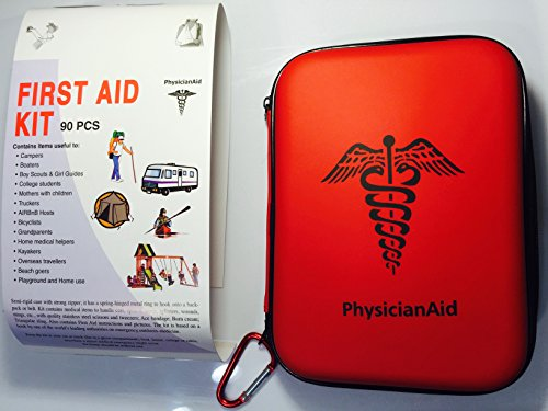 PHYSICIANAID FIRST AID KIT; Compact hard backed case containing 90 all purpose high quality medical care survival items; A medicine cabinet for campers or outdoor team sports players or vacationers by PhysicianAid