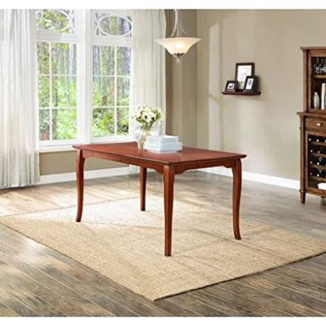 Durable Sturdy 6 Seater Ashwood Road Dining Table With Classic Curved Legs Made From Rubberwood In Brown Cherry