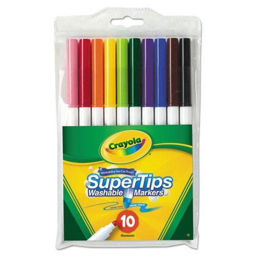Crayola 588610 Washable SuperTips Markers, Assorted, 10/Pk