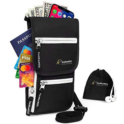 Neck Wallet - Passport Holder Neck - Travel Neck Pouch - Hidden Wallet RFID Blocking
