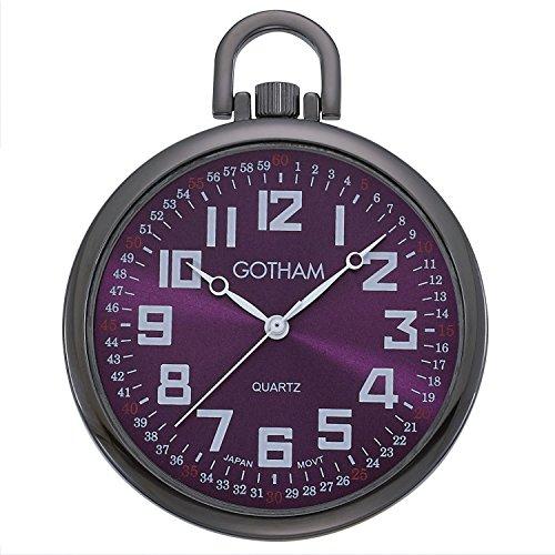 Gotham Men's Gun-Tone Slim Railroad 24 Hour Open Face Quartz Pocket Watch # GWC15027BP
