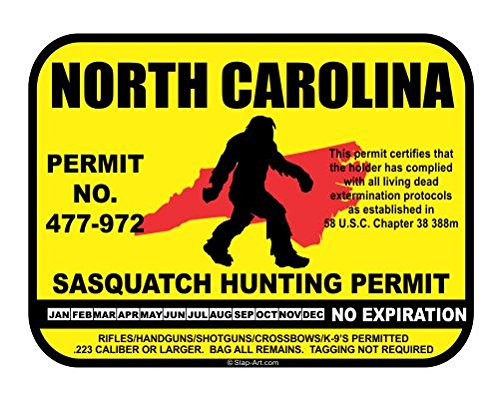 North Carolina Sasquatch Hunting Permit License Bigfoot Vinyl Sticker Decal