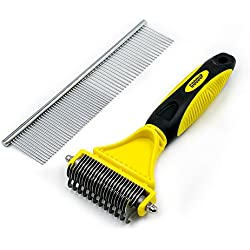 Goodup Pet Dematting Comb or Undercoat Rakes with 2 side 12+23 teeth Effective, Safely and Easily Removes Matted Tangels Gromming Tools for Dogs & Cats