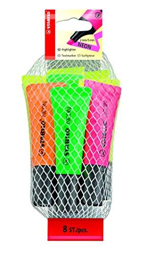 STABILO NEON 8er Sets: 4 gelb. 2 grün, je 1 orange, pink - Textmarker