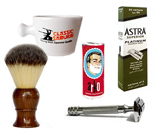 Classic Samurai Men Premium Shaving Set with Heavy Duty Long Handled Safety Razor, Mug, Arko Shaving Soap, Shaving Brush,100 ASTRA Superior Platinum Double Edge Razor & 10 DORCO Blades Great GIFT IDEA -