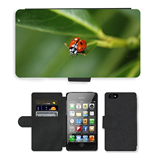 Just Phone Cases PU Leather Flip Custodia Protettiva Case Cover per // M00128746 Coccinelle coccinelles Beetle Insecte // Apple iPhone 4 4S 4G