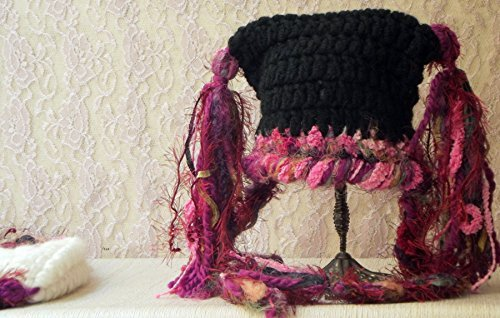 Custom Made Baby Hat with Tassels Pink and Black