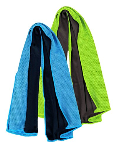 Aosce Cool Towel, 40″x12″ Microfiber Cooling Towel for Instant Cooling Relief in Hot Environment, Ice Towel Stay Cool for Sports and Fitness (Green & Blue) 513z8Nawx0L