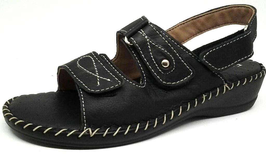 LA COCCINELLA sandali, ciabatte donna LINEA CONFORT art.14102 velcro pelle nero -