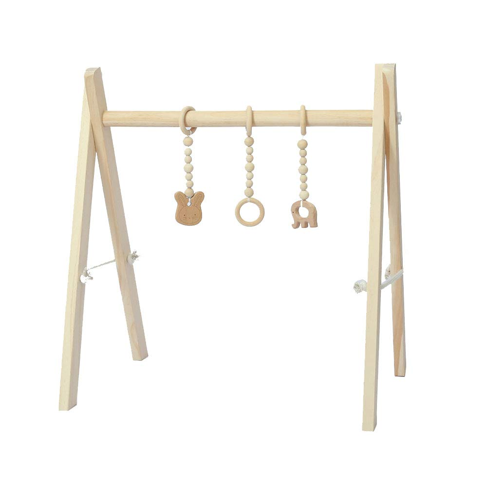 Wood Play Gym with 3 Gym Toys, Foldable Baby Play Gym Frame Activity Gym Newborn Gift for Baby Girl and Boy Gym WDDH