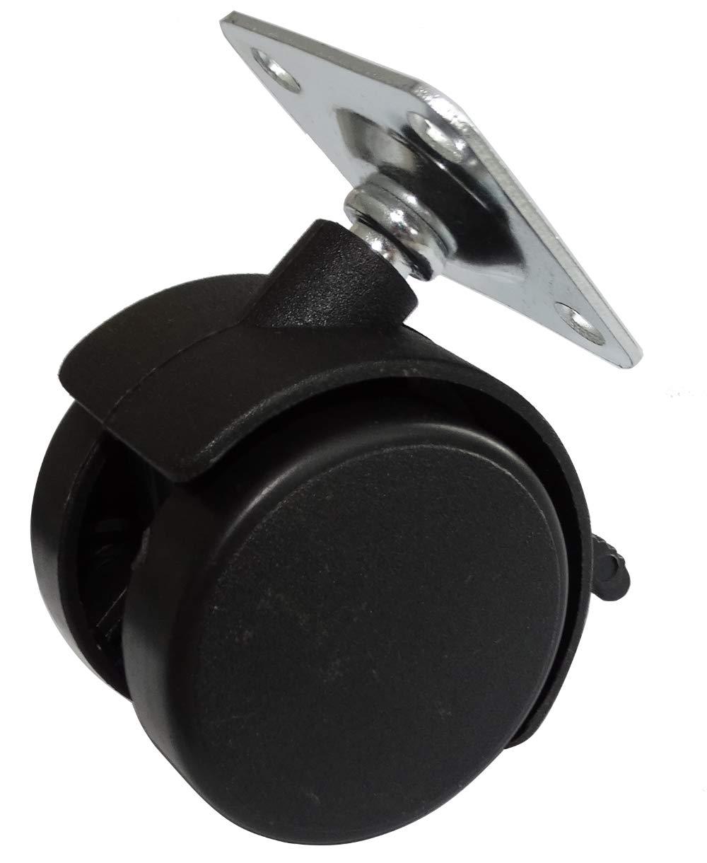 AERZETIX 4x Ruedas pivotantes para muebles con frenos bloqueo de rueda /Ø40mm H55mm 25kg placa de montaje 38x38mm C42662