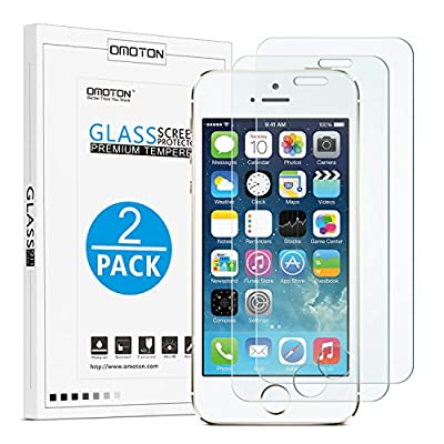 OMOTON 2.5D Round Edge 9H Tempered Glass Anti-Scratch Screen Protector for iPhone SE/ 5S/ 5C/ 5 - Clear (2 Pack) from OMOTON