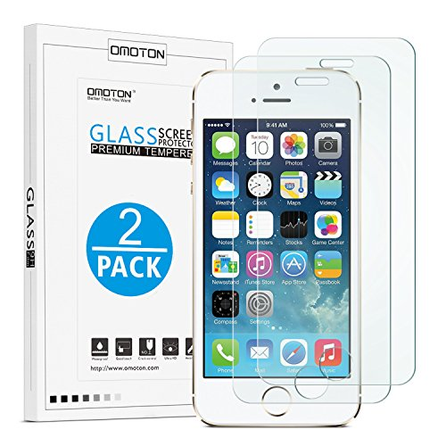 OMOTON 2.5D Round Edge 9H Tempered Glass Anti-Scratch Screen Protector for iPhone SE/ 5S/ 5C/ 5 - Clear (2 Pack) (Mobile Guard)