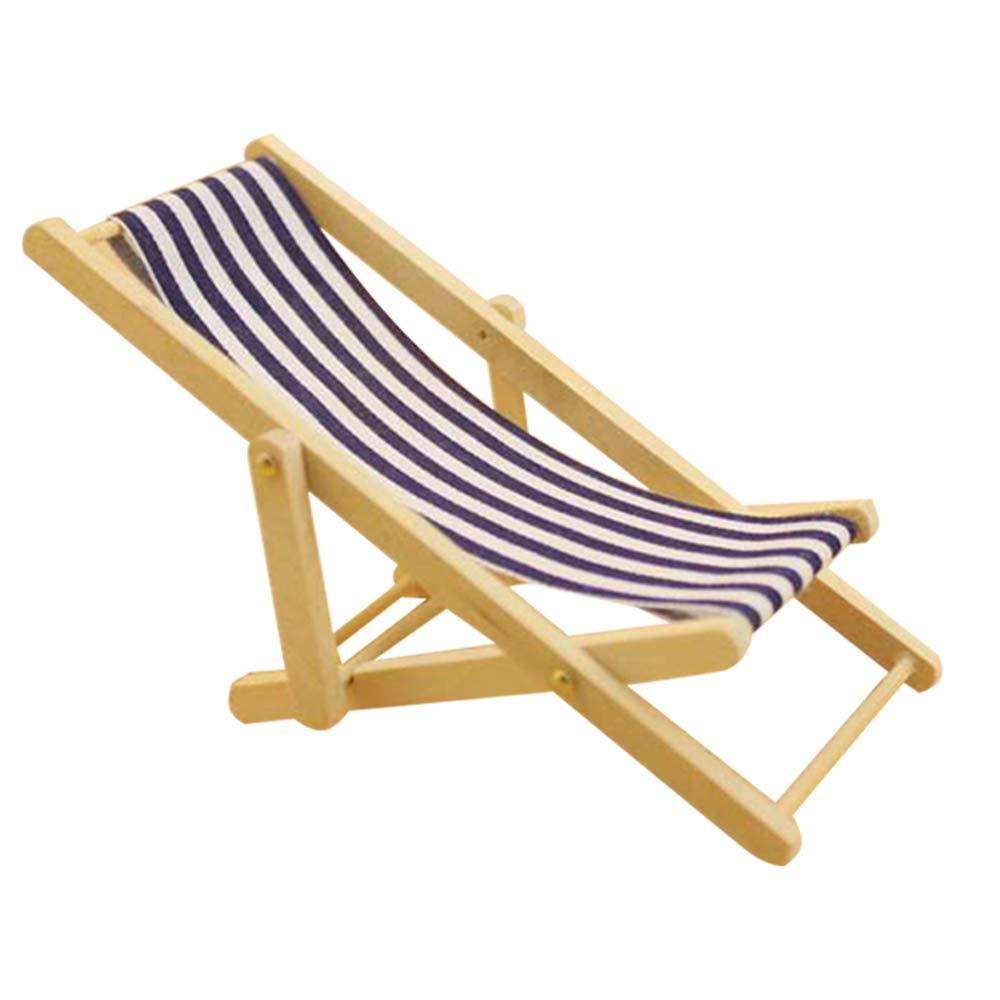 Mini Chaise Longue Juguetes con Raya Muebles de la casa al Aire Libre Accesorios KEISL Mini Silla de Playa Plegable 2pcs Raya Azul + Raya roja
