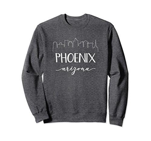 Unisex Phoenix Arizona Sweatshirt - Calligraphy Skyline State Shirt Large Dark Heather