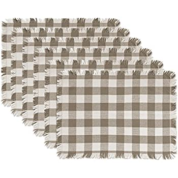 DII CAMZ10441, Placemats, Checkered Stone Brown