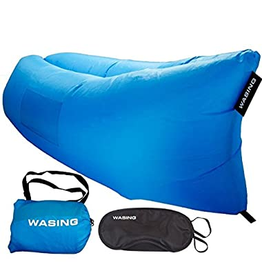 WASING Outdoor Inflatable Lounger Nylon Fabric Beach Lounger Convenient Compression Air Bag Hangout Bean Bag Portable Dream Chair WS-InCOUCH-blue