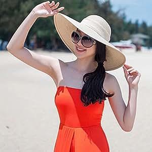 Newest Woman Lady Gardening Elegant Beige Floppy Wide Brim Hawaii Beach Swimming Bowknot Glitter Accent Travel Sun Hat