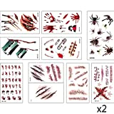 Scar Tattoo, LEEGOAL Halloween Zombie Scars Vampire Tattoos Temporary Makeup for Halloween Party Prop and Cosplay Sticker 20 Pcs