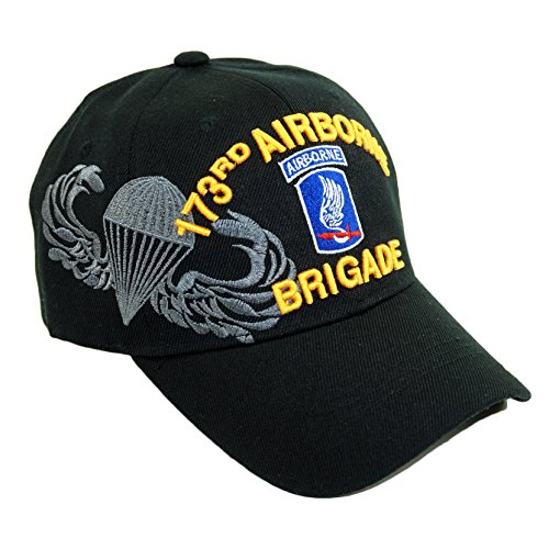 U.S. Military Official Licensed Embroidery Hat Army Navy Veteran Baseball Cap (173RD Airborne Brigade-Black)