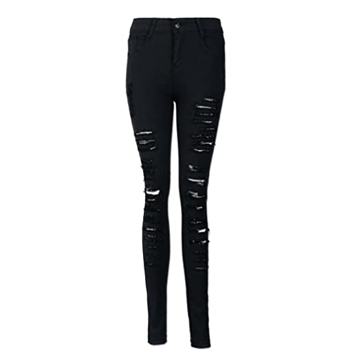 f0272437785 Rambling New Women s Distressed Ripped Butt Lifting Skinny Jeans Stretchy  Cut up Casual Hem Denim Pants
