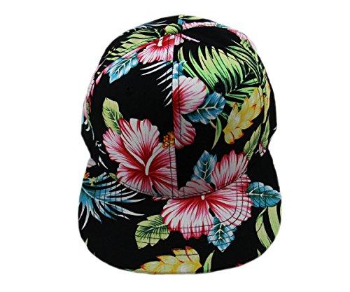 Floral Hawaiian Adjustable Snapback Hats Baseball Caps (Black/Flat)
