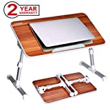 Avantree Adjustable Laptop Bed Table, Foldable Breakfast Tray, Portable Lap Standing Desk, Notebook Stand Reading Holder for Couch Sofa Floor Kids (Red) - Standard Size