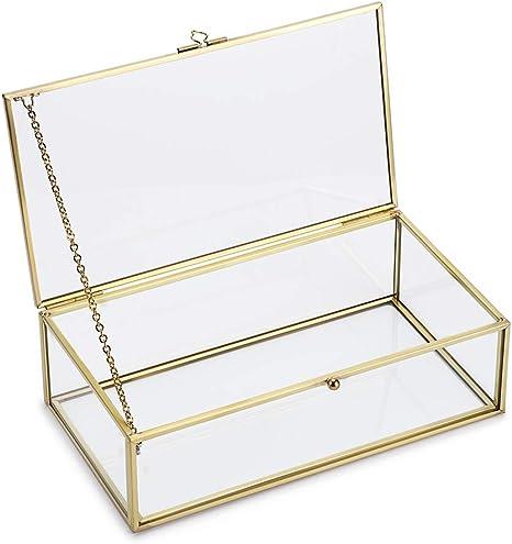 Hipiwe Vintage Glass Keepsake Box Rectangle Jewelry Display Organizer Box Vanity Lidded Box Home Decor Accent Decorative Box For Storage Trinket Rings Bracelet Home Improvement