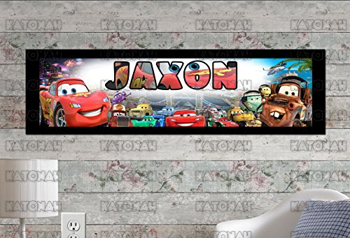 (Customized Name Painting Disney Car Poster With Your Name On It Personalized Banner With Border Mat)