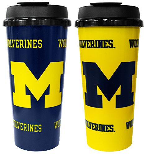 Michigan Wolverines Ncaa Tumbler - GameDay Novelty NCAA Michigan Wolverines Insulated Travel Tumbler with No Spill Flip Lid, 16 oz, 2 Pack