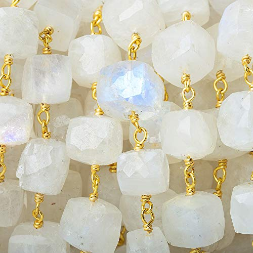 - 6-8mm Rainbow Moonstone faceted cube Vermeil Chain by the foot