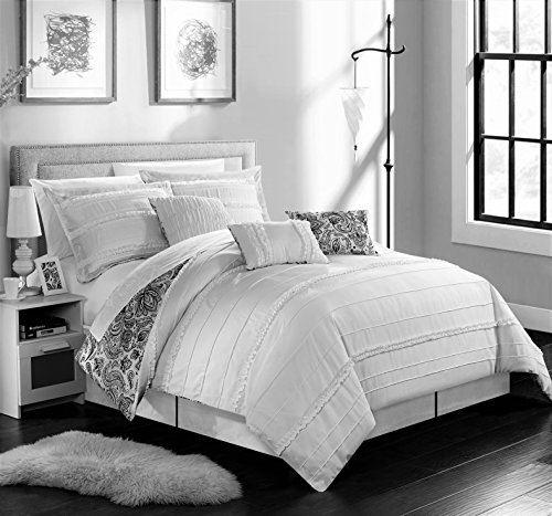 Chic Home 6 Piece Elle Pleated and Ruffled Reversible Paisely Floral Print Twin Comforter Set White Shams and Decorative Pillows Included (Paisely Bedding)