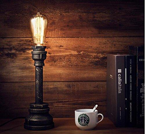 FSLiving Jahrgang industrielle Stil Rustikal Tischlampe , Wasserrohr Arm Beleuchtungskörper , schwarzer Schnur, Eisen-Stand, E27   E26 Halter Kit Set (LED-Birnen-Licht-Glas nicht im Lieferumfang enthalten)