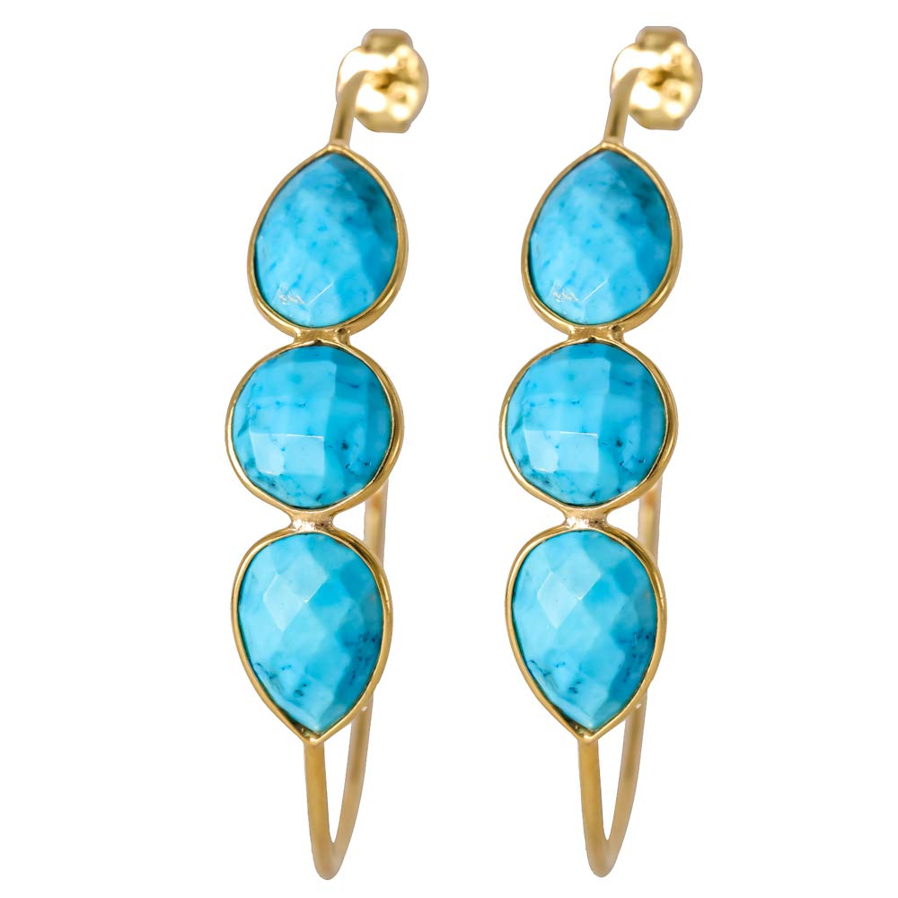 Turquiose 18k Gold Plated 925 Sterling Silver Bezel Handmade Hoop Stud Earrings