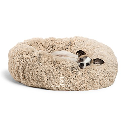 Best Friends by Sheri Calming Shag Vegan Fur Donut Cuddler (23x23) - Small Round Donut Cat and Dog Cushion Bed, Warming and Cozy for Improved Sleep - Prime, Machine Washable - Small Pets Up to 25 lbs - Memory Foam Cat Bed