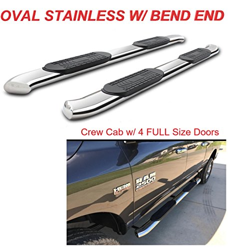 Running Boards 5' Stainless Curved Nerf Bars Side Steps For 2009-2018 Dodge Ram 1500 Crew Cab 2010-2018 Ram 2500 3500 Crew Cab (4 Full Doors)