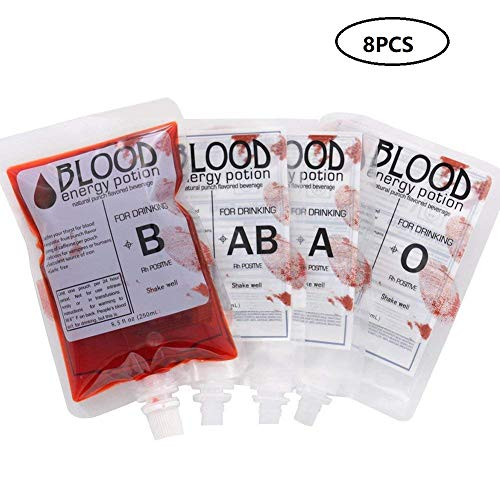 Easy Halloween Party Drinks (250ml Halloween Blood Bag Drink Container, 8 Pack Reusable A, B, AB, O Blood Type Blood Bag Party Cups with Syringes for Zombie Party Halloween Props,)