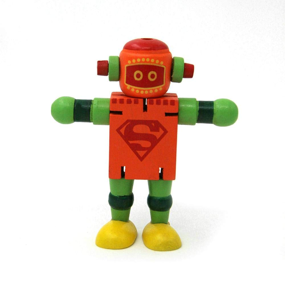 Biback Early Educational Toys Creative Building Blocks Toys Wooden Deformation Robot for Children Decompression Toy Gift