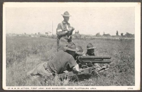 - 37mm Gun Crew 1st Army Plattsburg NY postcard 1939