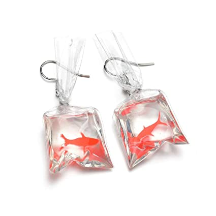 c2f5290a2ac3d Kofun Earrings, Women Funny Goldfish Water Bag Shape Dangle Hook Earrings  Charm Jewelry Gift