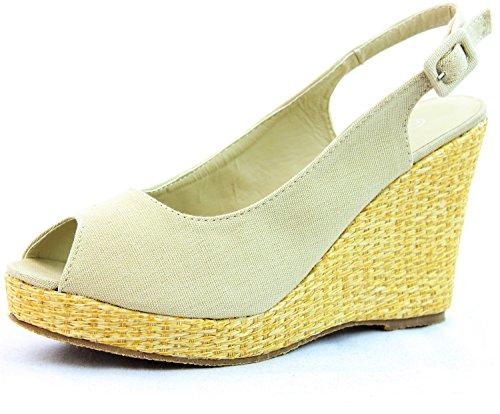Women's Top Moda 058-15 Beige Peep Ankle Strap Wedge Sandals Shoes, Beige, 6