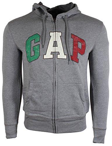 GAP Mens Fleece Arch Logo Full Zip Hoodie (X-Large, Grey (Italy Logo)) (Italy Zip Fleece)