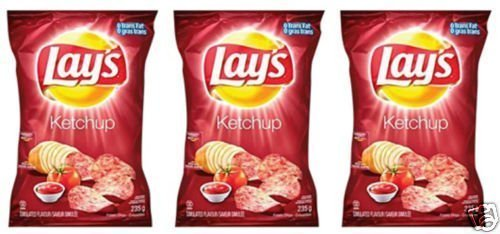 Lays Ketchup Potato Chips Eh! 3 Bags & Canada Flag!! by Lay's