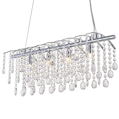 Price comparison product image Modern Pendant Chandelier Crystal Raindrop Lighting Ceiling Light Fixture Lamp for Dining Room Bathroom Bedroom Livingroom 6 G9 Bulbs Required L31 in x W10 in x H10 in