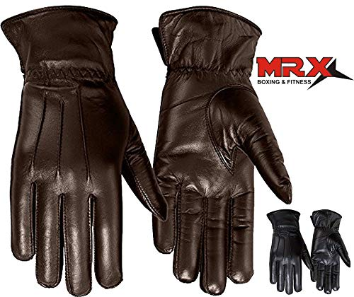 Ladies Warm Winter Gloves Dress Gloves Thermal Lining Geniune Leather Brown (8) (Ladies Brown Leather Gloves)
