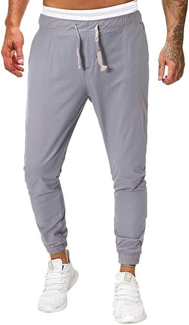 ღLILICATღ Pantalones Hombre Casuales Deporte Elásticos Joggers Largos Pants con Bolsillos Algodón Slim Fit Cargo Trouser de Hombres: Amazon.es: Ropa y accesorios