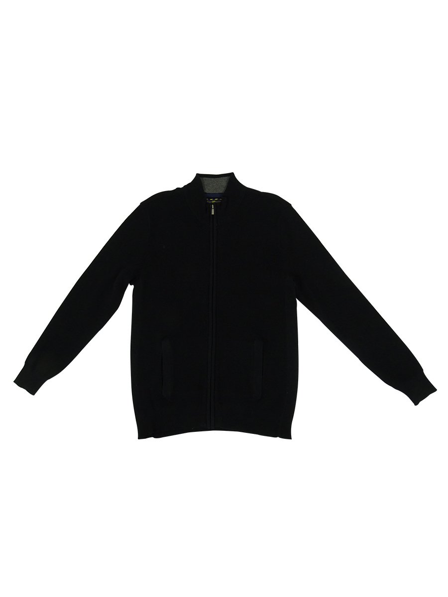 Club Room Men's Cotton Fabric Solid Color Sweater (Deep Black, S)