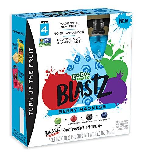 Banana Blast (GoGo SqueeZ BlastZ Fruit Pouches on the Go, Berry Madness, 3.88 Ounce Portable BPA-Free Pouches, Gluten-Free, 24 Total Pouches (6 Boxes with 4 Pouches Each))