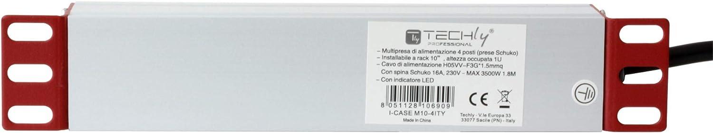 Techly Professional 106909 Multipresa Universale per Rack 10 4 posti Spina Schuko Nero//Argento